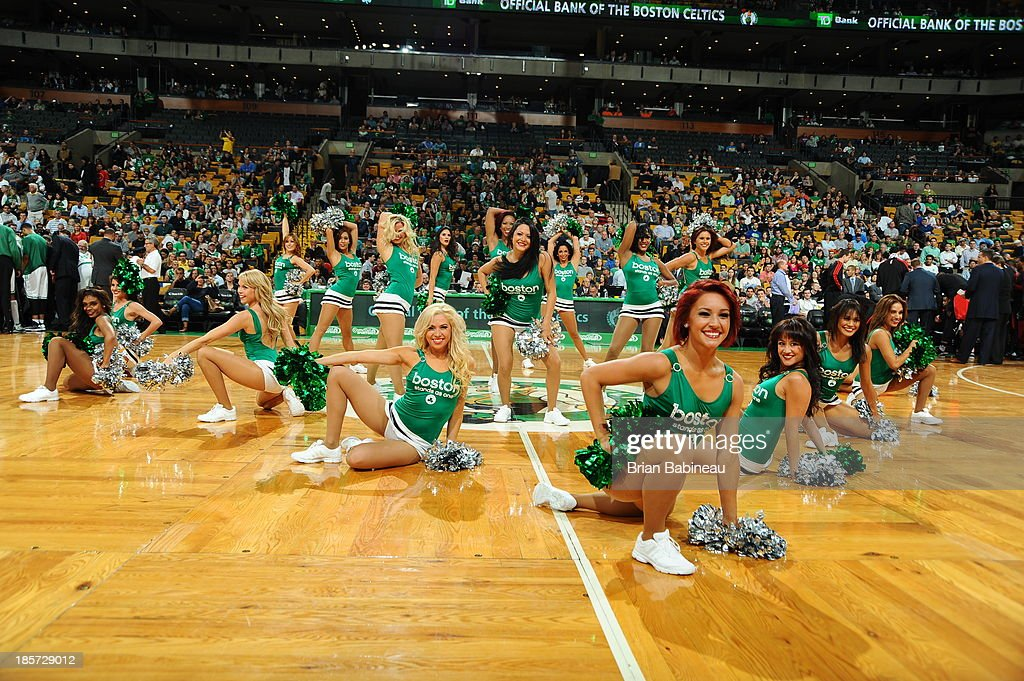 The Boston Celtics dance team performs during the game against the Toronto Raptors during the game against the Toronto Raptors on October 7, 2013 at the TD Garden in Boston, Massachusetts.