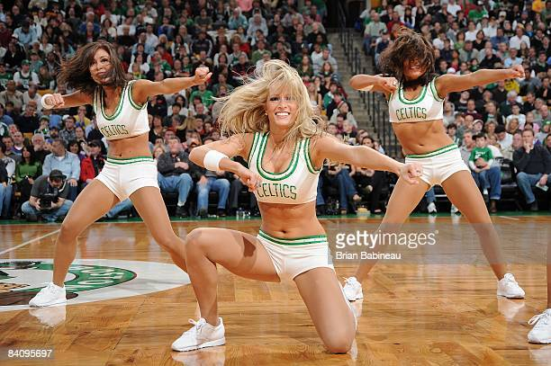 The Boston Celtics dance team performs during the game against the Philadelphia 76ers on November 28 2008 at the TD Banknorth Garden in Boston...