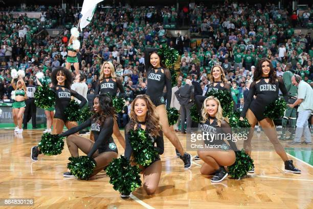 the Boston Celtics dance team performs during the game against the Milwaukee Bucks on October 18 2017 at the TD Garden in Boston Massachusetts NOTE...