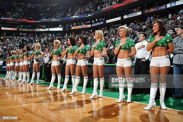 The Boston Celtics Dancers stand for the national anthem before the game against the Chicago Bulls on January 14 2010 at TD Banknorth Garden in...