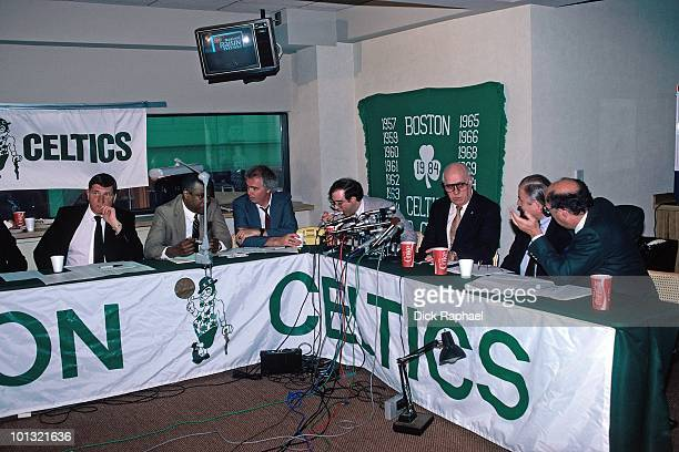The Boston Celtics front office work in the war room during the 1986 NBA Draft on June 17 1986 at the Boston Garden in Boston Massachusetts NOTE TO...