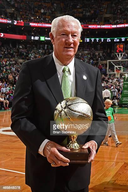 The Boston Celtics honor John Havlicek before a game against the Toronto Raptors on April 14 2015 at the TD Garden in Boston Massachusetts NOTE TO...