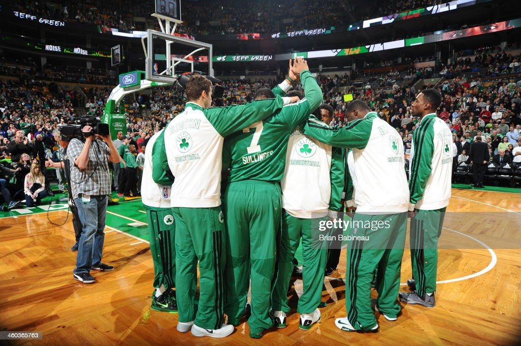 The Boston Celtics huddle before the game against the Cleveland Cavaliers on November 29, 2013 at the TD Garden in Boston, Massachusetts.