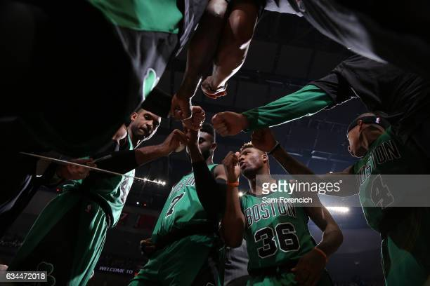 The Boston Celtics huddle during the game against the Portland Trail Blazers on February 9 2017 at the Moda Center in Portland Oregon NOTE TO USER...