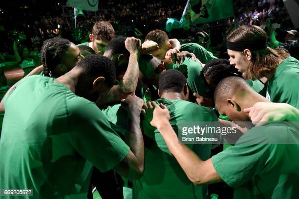 The Boston Celtics huddle up before the game against the Chicago Bulls during the Eastern Conference Quarterfinals of the 2017 NBA Playoffs on April...
