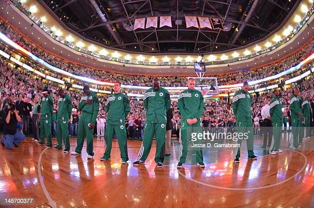 The Boston Celtics line up in Game Four of the Eastern Conference Finals between the Miami Heat and the Boston Celtics during the 2012 NBA Playoffs...