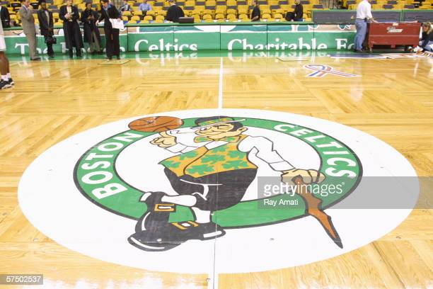The Boston Celtics logo on the floor at the Fleet Center in 2002 in Boston Massachusetts NOTE TO USER User expressly acknowledges and agrees that by...