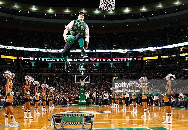 The Boston Celtics mascot Lucky performs during a break in the game against the Chicago Bulls during the game on January 18 2013 at TD Garden in...