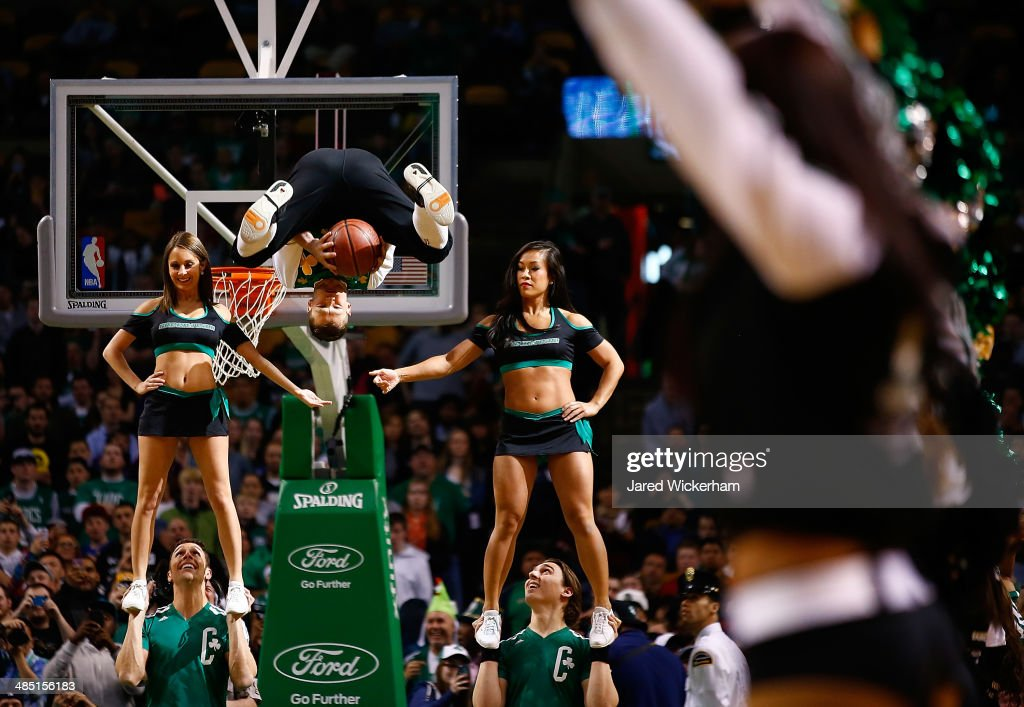 The Boston Celtics mascot, Lucky, performs during his dunk show during the game against the Washington Wizards at TD Garden on April 16, 2014 in Boston, Massachusetts.