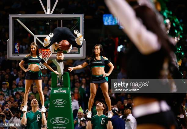 The Boston Celtics mascot Lucky performs during his dunk show during the game against the Washington Wizards at TD Garden on April 16 2014 in Boston...