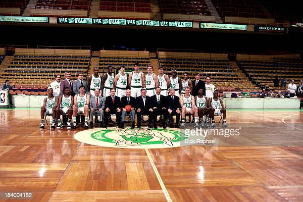 The Boston Celtics pose for a team portrait circa 1991 at the Boston Garden in Boston Massachusetts NOTE TO USER User expressly acknowledges and...