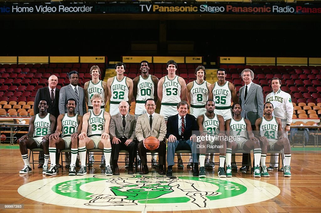 The Boston Celtics pose for a team portrait in 1983 at the Boston Garden in Boston, Massachusetts.