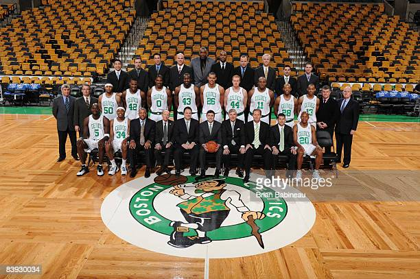 The Boston Celtics pose for their team photo before a game against the Portland Trail Blazers on December 5 2008 at the TD Banknorth Garden in Boston...