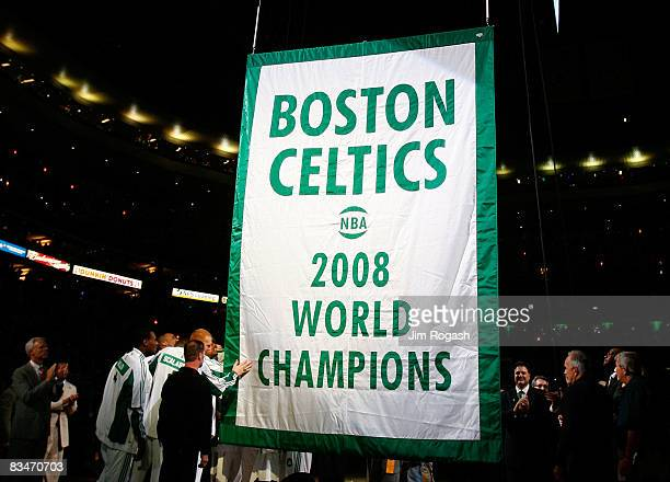 The Boston Celtics raise 2008 World Championship banner during the 2008 NBA World Championship ceremony before a game against the Cleveland Cavaliers...