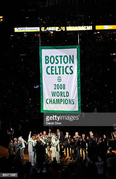 The Boston Celtics raise the 17th chapionship banner during the team's championship ring ceremony prior to the homeopener against the Cleveland...