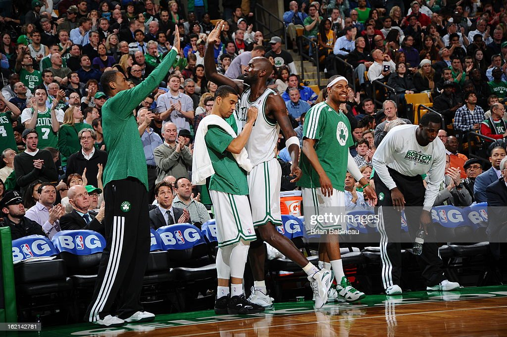The Boston Celtics reacts to a shot against the Los Angeles Lakers on February 7, 2013 at the TD Garden in Boston, Massachusetts.