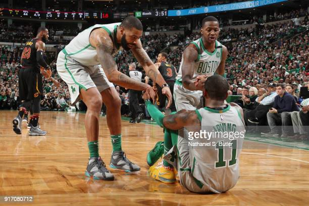 The Boston Celtics show a display of good teamwork during the game against the Cleveland Cavaliers on February 11 2018 at TD Garden in Boston...