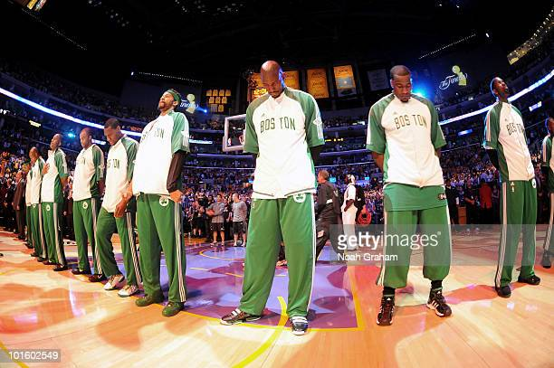 The Boston Celtics stand together before taking on the Los Angeles Lakers in Game One of the 2010 NBA Finals on June 3 2010 at Staples Center in Los...