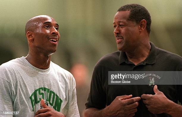 The Boston Celtics try out Kobe Bryant here he chats with ML Carr during the workout