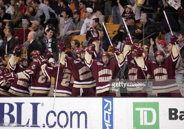 The Boston College Eagles bench celebrates a goal in the third period against the New Hampshire Wildcats during the Hockey East Tournament...