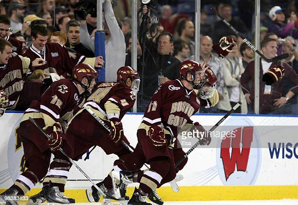 The Boston College Eagles celebrate at the end of the championship game of the 2010 NCAA Frozen Four on April 10, 2010 at Ford Field in Detroit,...