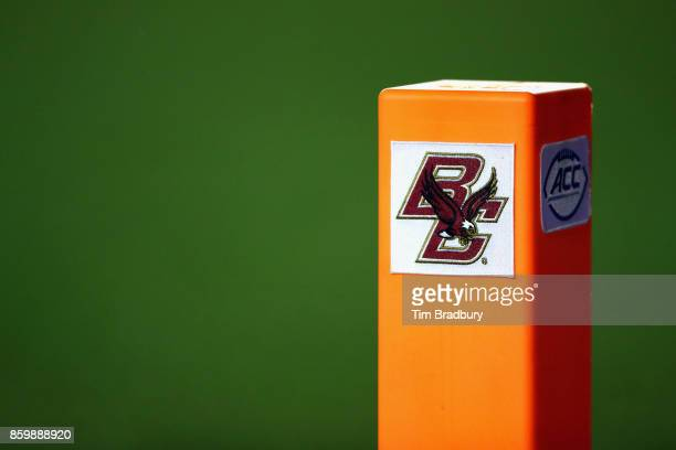 The Boston College Eagles logo is seen on a pylon during the game between the Virginia Tech Hokies and the Boston College Eagles at Alumni Stadium on...