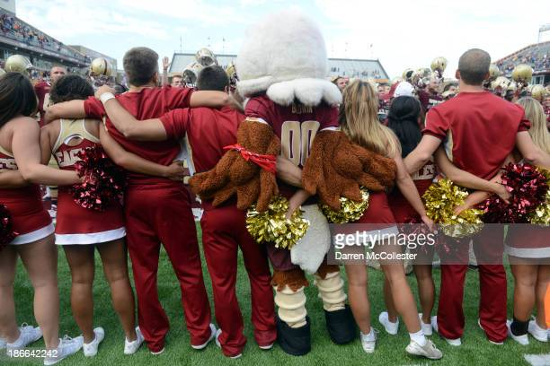 The Boston College Eagles mascot and cheerleaders celebrate their win over the Virginia Tech Hokies at Alumni Stadium The Eagles won the game 34 to...