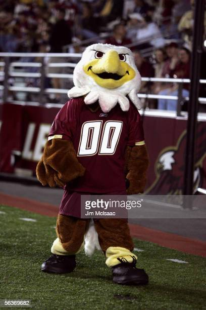 The Boston College Eagles mascot performs against the Florida State Seminoles at Alumi Stadium on September 17, 2005 in Chestnut Hill, Massachusetts....