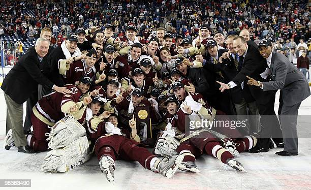 The Boston College Eagles pose with the trophy after they won the championship game of the 2010 NCAA Frozen Four on April 10, 2010 at Ford Field in...