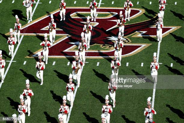 The Boston College 'Screaming Eagles' marching band preforms before the game against the Notre Dame Fighting Irish at Alumni Stadium on September 16...