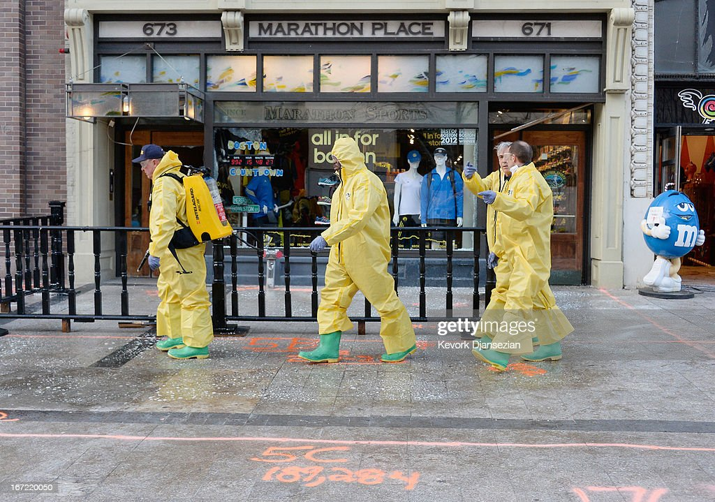 The Boston Fire Department Hazardous Materials team clean the first blast site near the Boston Marathon finish line one week after the FBI handed over Boylston Street back to the city on April 22, 2013 in Boston, Massachusetts. A manhunt ended for Dzhokhar A. Tsarnaev, 19, a suspect in the Boston Marathon bombing after he was apprehended on a boat parked on a residential property in Watertown, Massachusetts. His brother Tamerlan Tsarnaev, 26, the other suspect, was shot and killed after a car chase and shootout with police. The bombing, on April 15 at the finish line of the marathon, killed three people and wounded at least 170.