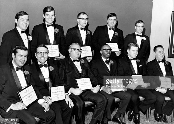 The Boston Junior Chamber of Commerce's Ten Outstanding Men of Greater Boston for 1969 pose for a portrait during an event honoring them at the...