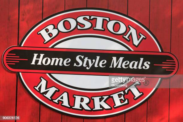 The Boston Market logo is displayed during news conference at the US ambassador's residence in Bangkok Thailand on Thursday Jan 18 2018...