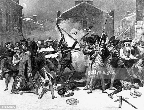 The Boston Massacre an 19th century engraving after the painting by Alonzo Chappel British troops under severe provocation opened fire on an angry...
