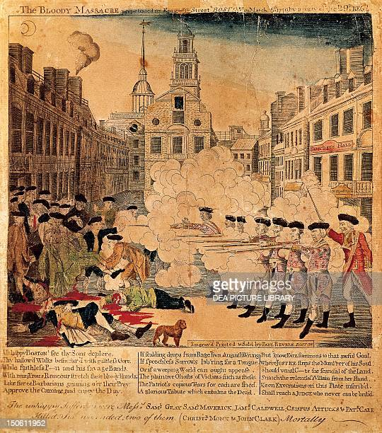 The Boston Massacre, March 5 by Paul Revere , engraving. The United States, 18th century.