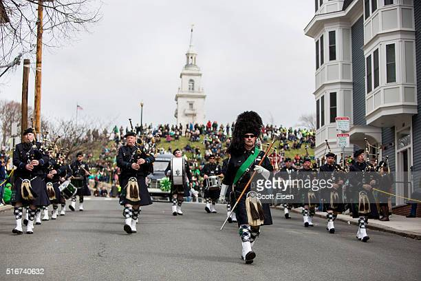 The Boston Police Gaelic Column of Pipes and Drums walks down from Dorchester Heights during the annual South Boston St Patrick's Parade passes on...