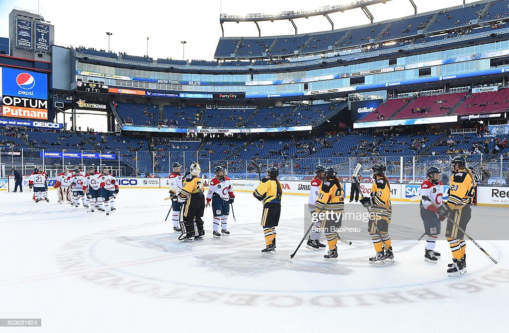 The Boston Pride and Les Canadiennes line up for the post game hand shake after the Women's Classic Hockey Game as part of the 2016 Bridgestone NHL Classic at Gillette Stadium on December 31, 2015 in Foxboro, Massachusetts. The 2016 Bridgestone NHL Winter Classic will take place on New Year's Day with the Montreal Canadiens playing the Boston Bruins.