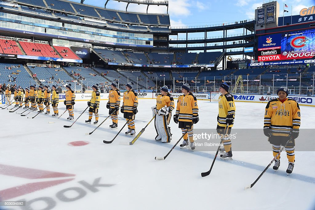 The Boston Pride line up at the blue line prior to the Women's Classic Hockey Game as part of the 2016 Bridgestone NHL Classic at Gillette Stadium on December 31, 2015 in Foxboro, Massachusetts. The 2016 Bridgestone NHL Winter Classic will take place on New Year's Day with the Montreal Canadiens playing the Boston Bruins.