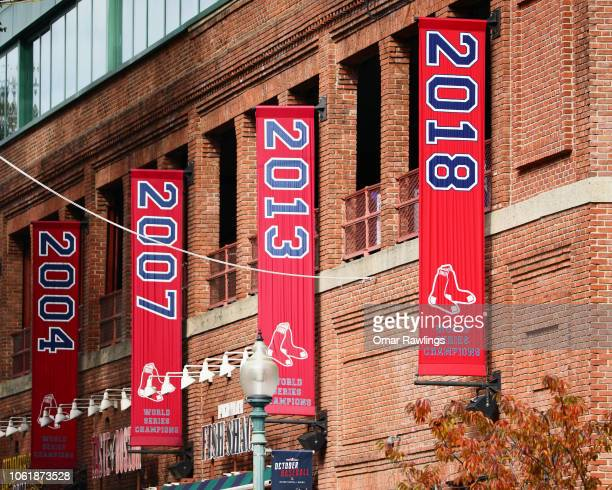 The Boston Red Sox 2018 World Series Championship banner hangs outside Fenway Park on October 31 2018 in Boston Massachusetts