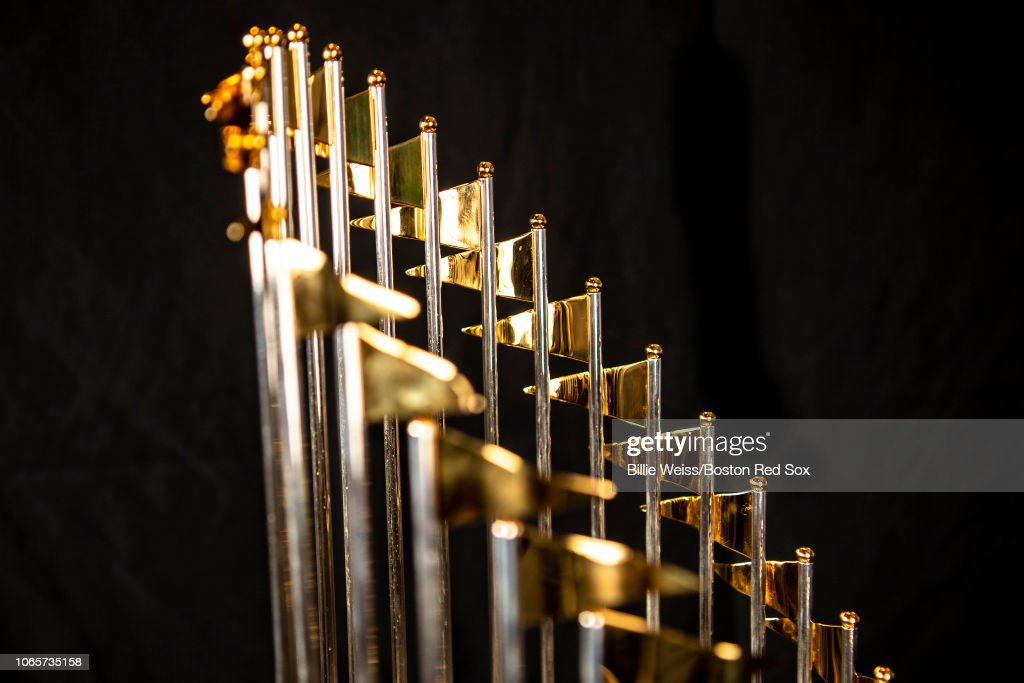 Boston Red Sox World Series Trophies : News Photo