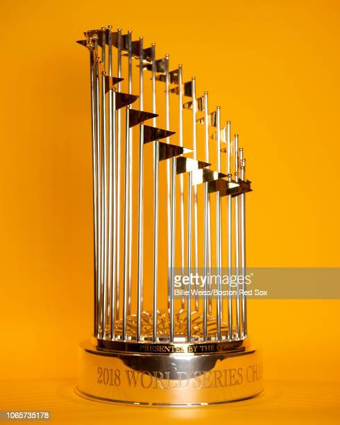 The Boston Red Sox 2018 World Series trophy is displayed on November 26 2018 at Fenway Park in Boston Massachusetts