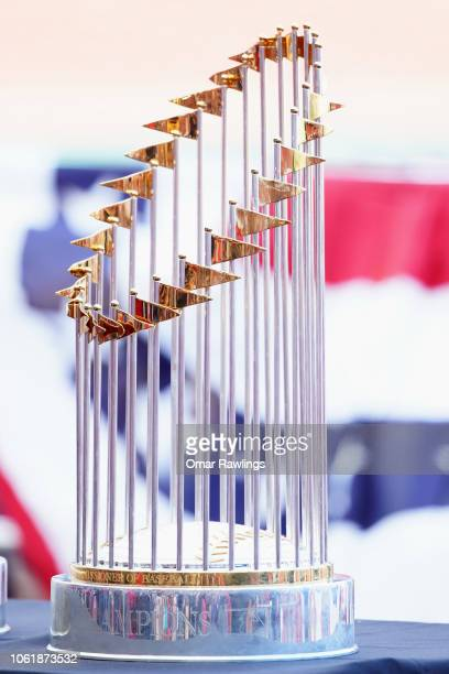 The Boston Red Sox 2018 World Series trophy on display at Fenway Park before the Victory parade on October 31 2018 in Boston Massachusetts