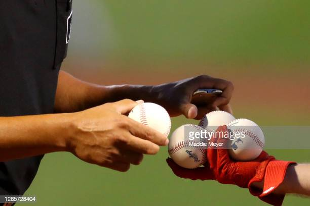 The Boston Red Sox ball boy hands baseballs to the umpire during the first inning between the Boston Red Sox and the Tampa Bay Rays at Fenway Park on...