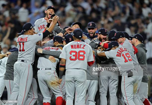 The Boston Red Sox celebrate after beating the New York Yankees by a score of 43 to win Game Four American League Division Series at Yankee Stadium...
