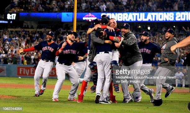 The Boston Red Sox celebrate after defeating the Los Angeles Dodgers 51 in game five of the World Series at Dodger Stadium on Sunday October 28 2018...