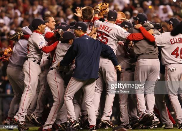 The Boston Red Sox celebrate after winning Game Four by a score of the 43 to win the 2007 Major League Baseball World Series in a four game sweep of...