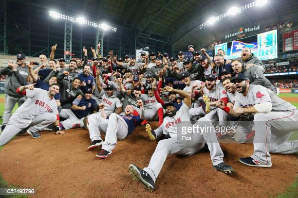 The Boston Red Sox celebrate defeating the Houston Astros 41 in Game Five of the American League Championship Series to advance to the 2018 World...