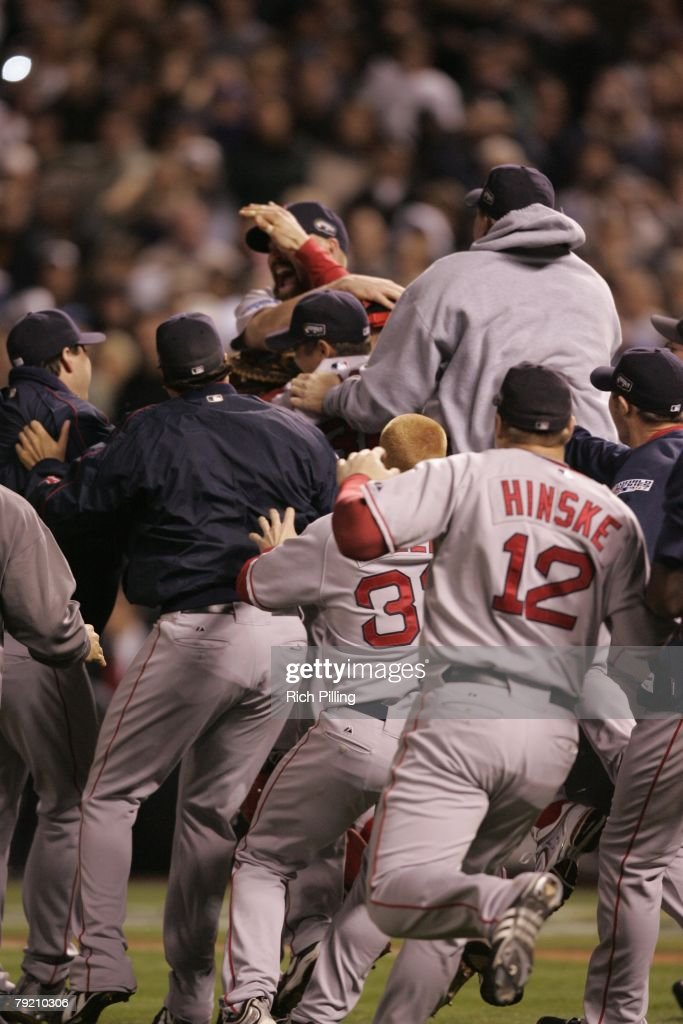 The Boston Red Sox celebrate during Game Four of the 2007 World Series against the Colorado Rockies on October 28, 2007 at Coors Field in Denver, Colorado. The Red Sox defeated the Rockies 4-3.
