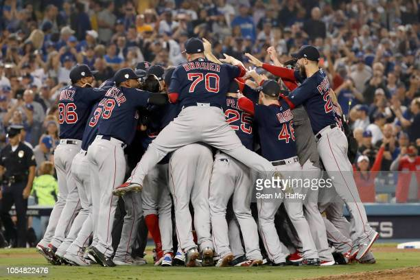 The Boston Red Sox celebrate their 51 win over the Los Angeles Dodgers in Game Five to win the 2018 World Series at Dodger Stadium on October 28 2018...