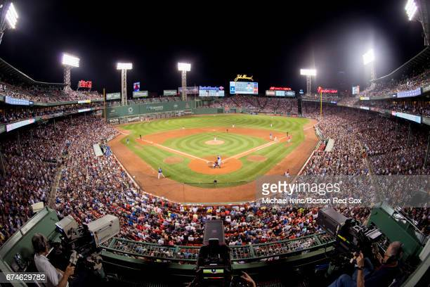 The Boston Red Sox face the Chicago Cubs in the seventh inning at Fenway Park on April 28 2017 in Boston Massachusetts